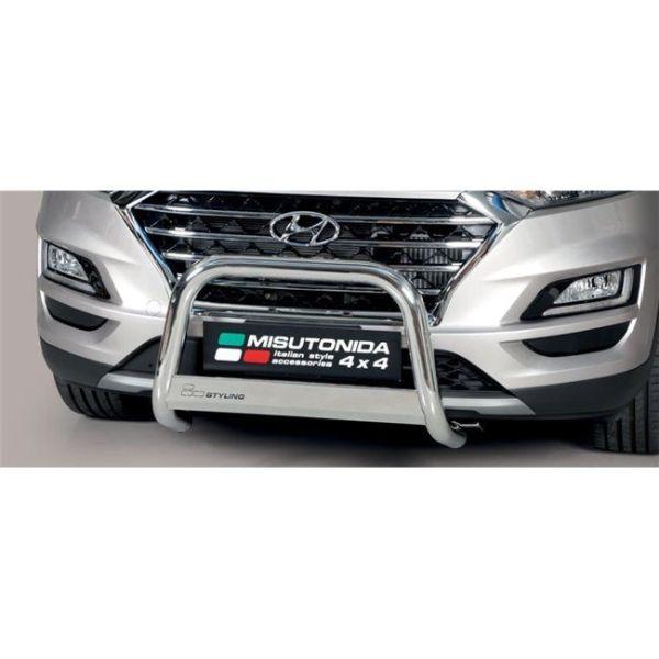 Misutonida Bull Bar Ø63mm inox srebrni za Hyundai Tucson 2018+ s EU certifikatom