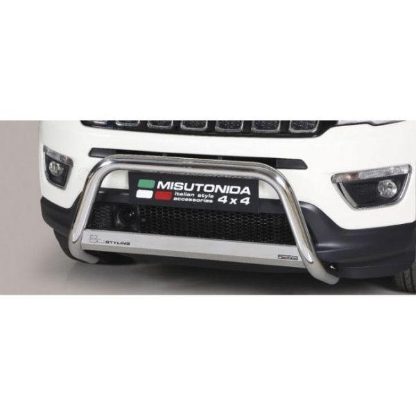 Misutonida Bull Bar Ø63mm inox srebrni za Jeep Compass 2017 s EU certifikatom