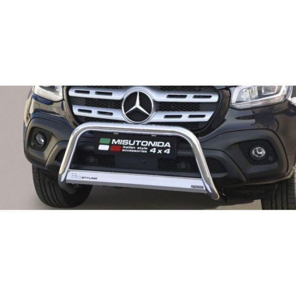 Misutonida Bull Bar Ø63mm inox srebrni za Mercedes X Class 2017 s EU certifikatom