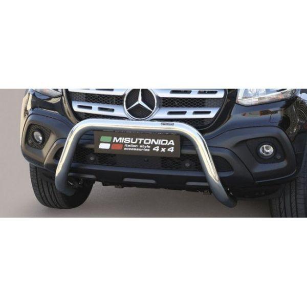 Misutonida Bull Bar Ø76mm inox srebrni za Mercedes X Class 2017 s EU certifikatom