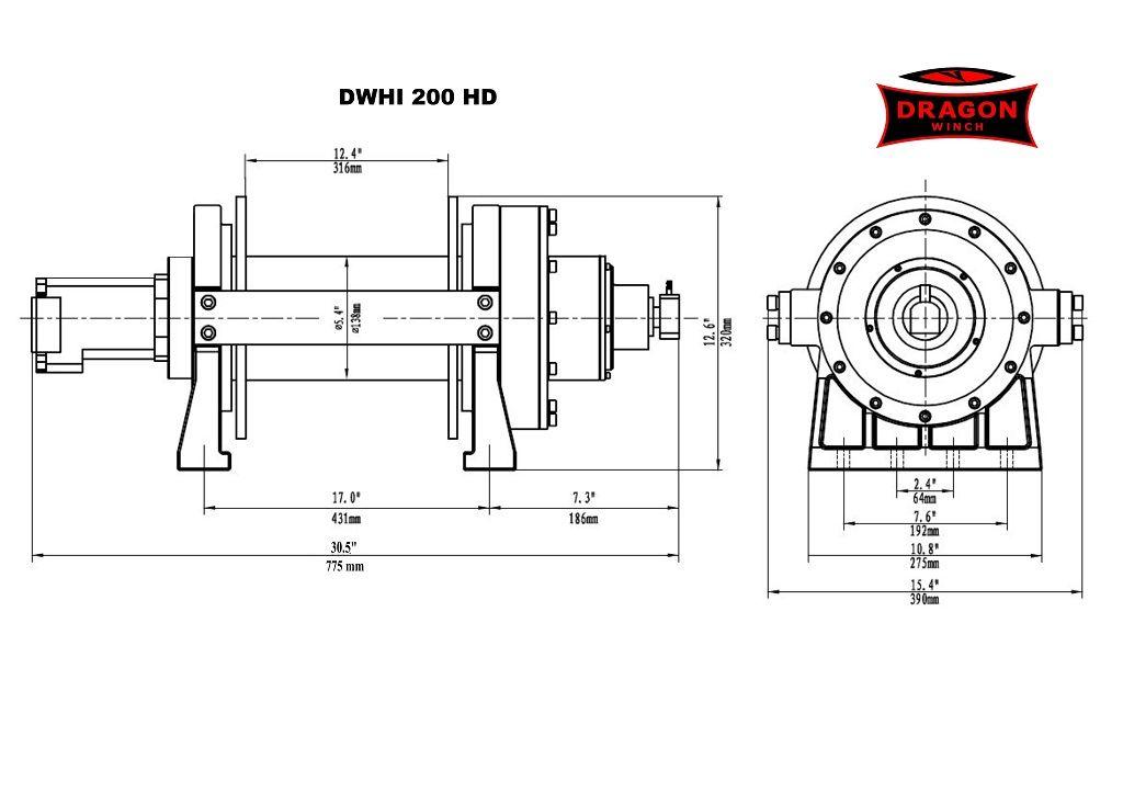 Vitlo Dragon Hidra DWHI 200HD, hidraulično, 9.072 kg, s čeličnom sajlom 50 m bez kontrolnog seta