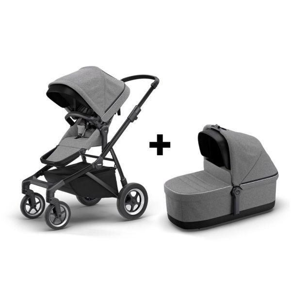 Komplet Thule Sleek 2u1 dječja kolica siva s crnim okvirom + Thule Sleek košara