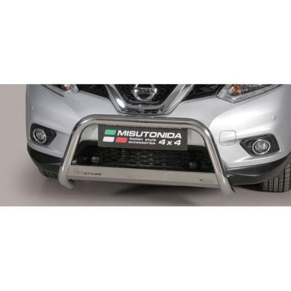 Misutonida Bull Bar Ø63mm inox srebrni za Nissan X-Trail 2015-2017 s EU certifikatom
