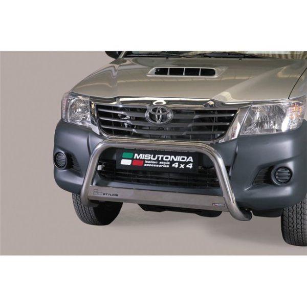 Misutonida Bull Bar Ø63mm inox srebrni za Toyota Hi Lux Double Cab, Extra Cab 2011-2015 s EU certifikatom