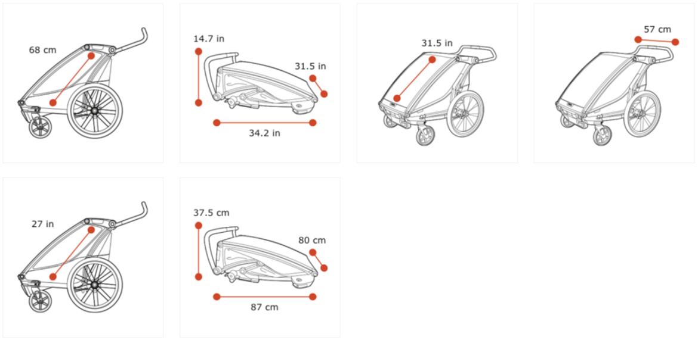 Thule Chariot Lite 2 zeleno (agava)/crna sportska dječja kolica i prikolica za bicikl za dvoje djece (4u1)