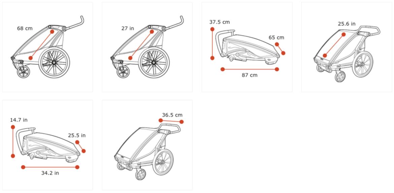 Thule Chariot Lite zeleno (agava)/crna sportska dječja kolica i prikolica za bicikl za jedno dijete (4u1)