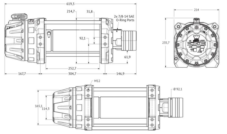 Vitlo Warn Series 9, druga generacija 3.0 motor, hidraulično, 4.082 kg, bez sajle i vodilice