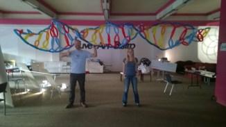 Natasha and Andy under a balloon model of DNA at ASMbly 2014.