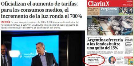 """Pequeno destaque no jornal impresso Clarín sobre o reajuste na energia elétrica depois de acabar com a """"Lei de Meios"""" Crédito: tijolaco.com.br"""