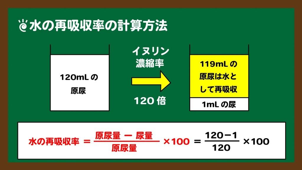 スライド4:水の再吸収率の計算方法