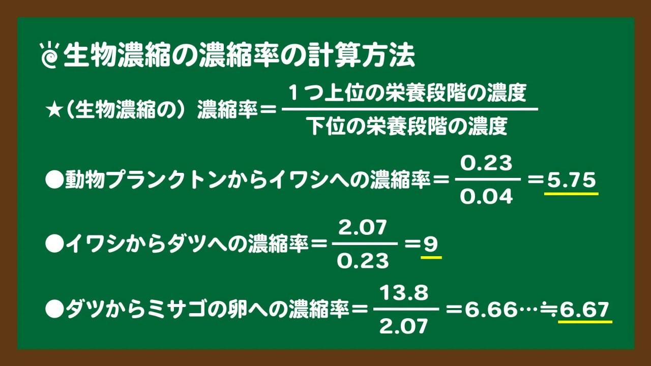 スライド5:生物濃縮の濃縮率の計算方法