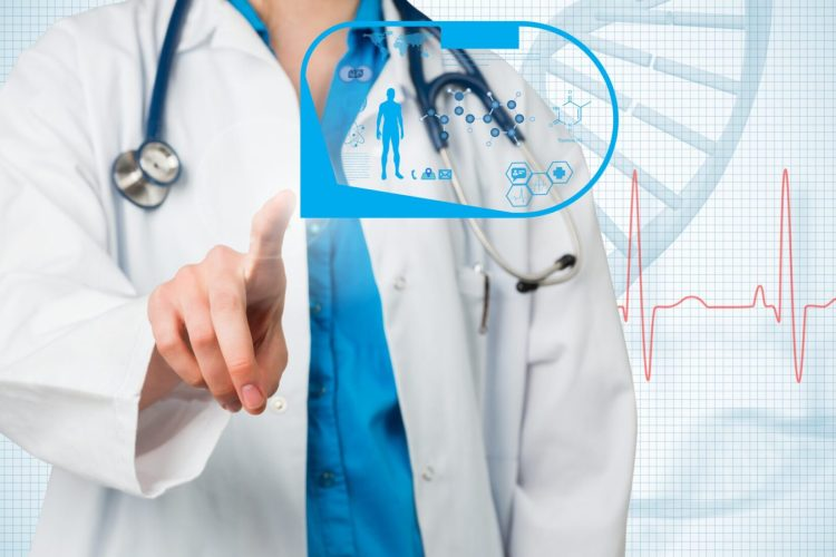 Doctor pointing to abstract screen