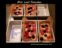 Image of raw batter with berries for Mini Loaf Pancakes