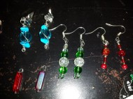 Earrings for Nat's Mum, also showing a couple of other items in progress