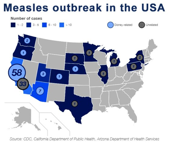 Map of USA - Measles
