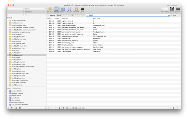 Screenshot of Sequel Pro showing the metadata associated with the post that Gravity Forms created.