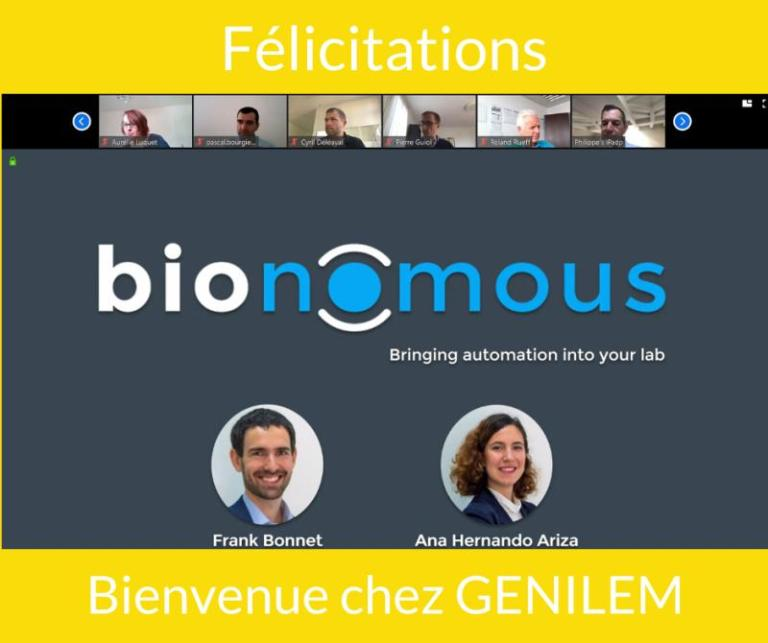 Genilem congratulations to Bionomous for having been accepted in their support program. First slide of the pitch with GENILEM team above.