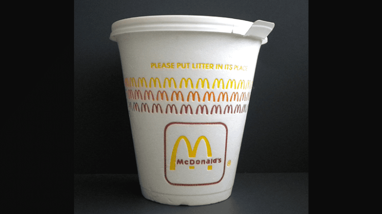 mcdonald expanded polystyrene coffee cup