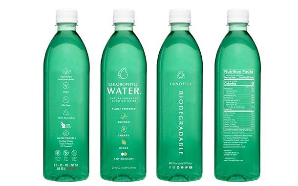 chloryphyll water bioplastics bottle