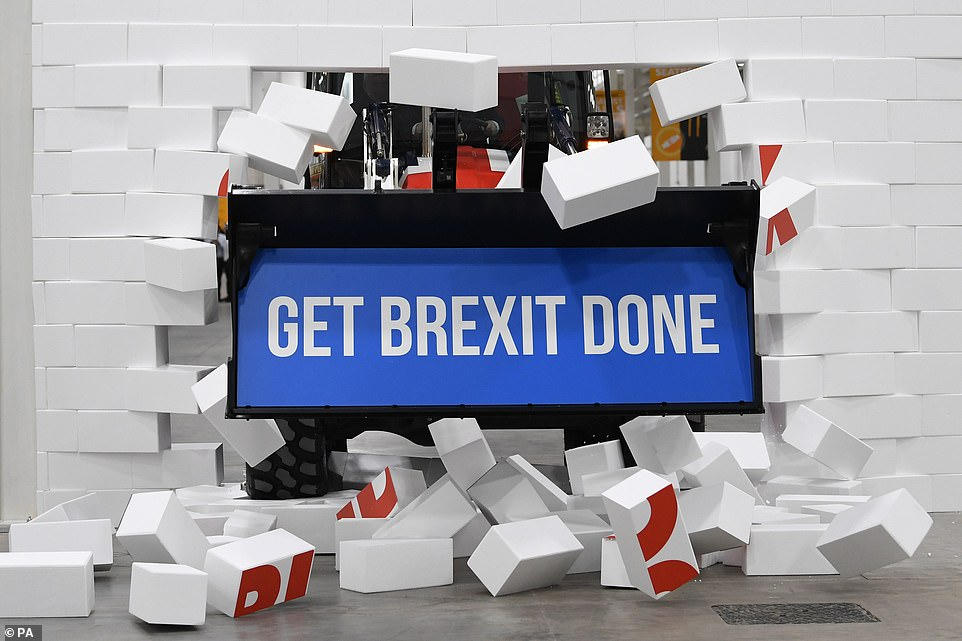 Boris Johnson styrofoam wall