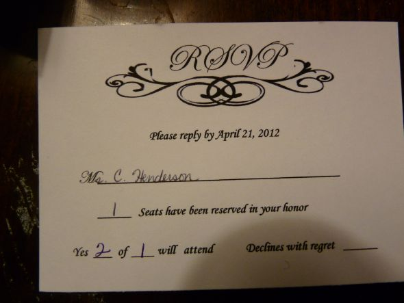 What does the m mean on a rsvp
