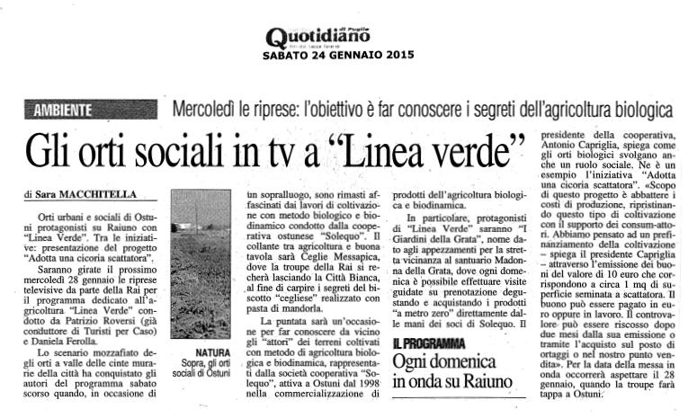 """Il Nuovo Quotidiano di Puglia """"Gli Orti Sociali in tv a Linea Verde"""""""