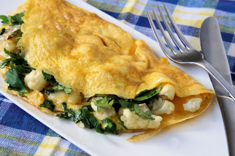 10 Receitas Light com Couve-Flor - omelete de couve flor