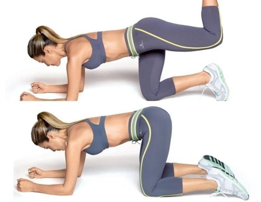 10 Exercícios de Agachamento para Glúteos que Realmente Funcionam - Faça o chute com quatro membros apoiados
