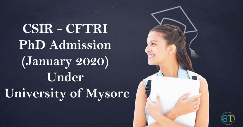 CFTRI PhD Admission (January 2020)