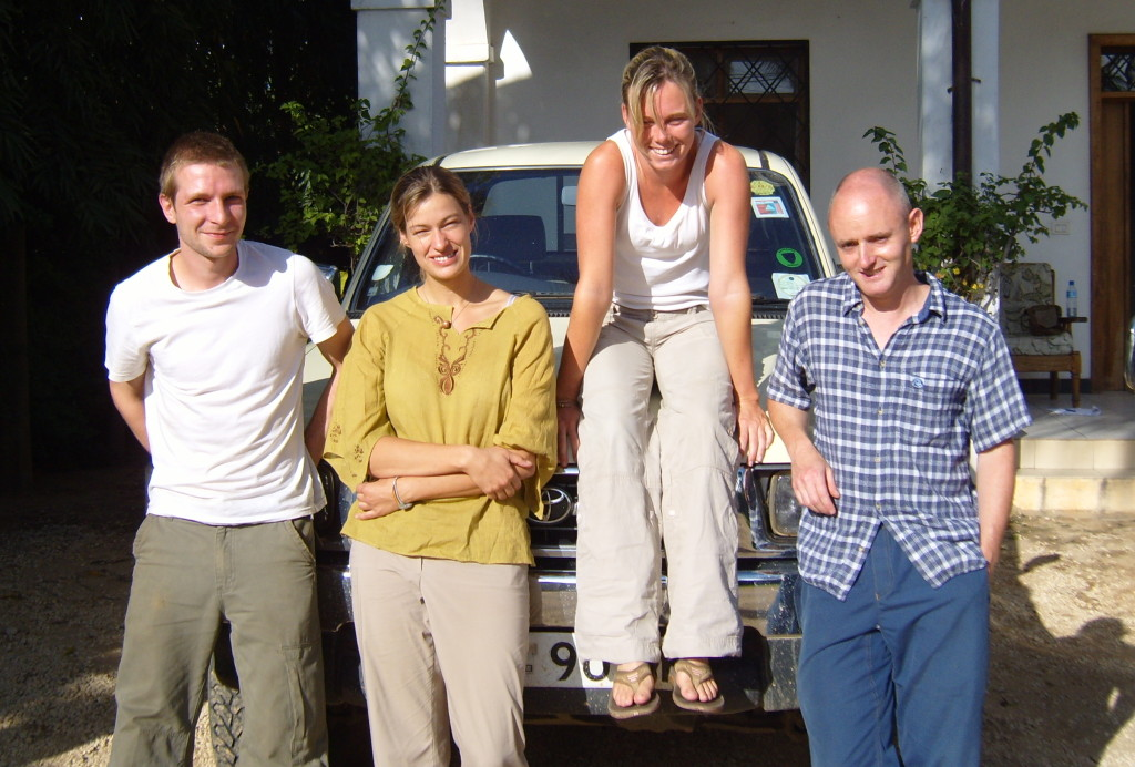 The field team. From left to right: Phil Platts, Antje Ahrends, Jemma Finch, and Alistair Jump.