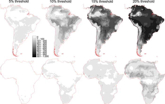 Figure 4. Coincidence of distributional areas of virtual species surviving the LGM-to-present transition. Darker areas represent greater numbers of surviving species distributed in a particular area, and thus more environmentally stable areas, at each threshold. Contrasts between the two continents are immediately apparent in overall intensity of shading. LGM, Last Glacial Maximum (from Nakazawa, Y. and Peterson, A. T. (2015), Effects of Climate History and Environmental Grain on Species' Distributions in Africa and South America. Biotropica, 47: 292–299. doi: 10.1111/btp.12212).