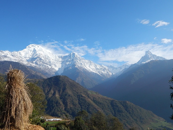 Annapurna mountain range viewed from Ghandruk village