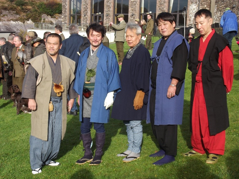 Figure 6: Japanese falconers in traditional hawking clothes on World Falconry Day.