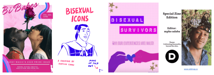 4 zine covers from the bi pan library collection