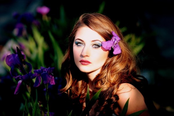 Beautiful lady with flower