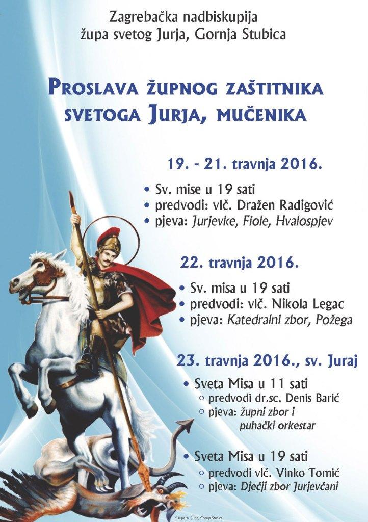 Plakat za proslavu sv. Jurja u Gornjoj Stubici