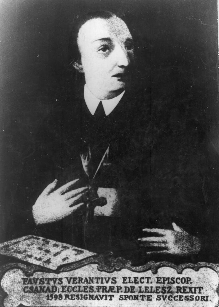 Faust Vrančić (tal. Fausto Veranzio, lat. Faustus Verantius, mađ.: Verancsics Faustus; Šibenik, 1. siječnja 1551. - Mletci, 20. siječnja 1617.), hrvatski polihistor, jezikoslovac, izumitelj, diplomat, inženjer, svećenik, biskup. (Foto: By Original uploader was Presbite at it.wikipedia - Transferred from it.wikipedia; transfer was stated to be made by User:Theirrulez., Public Domain, https://commons.wikimedia.org/w/index.php?curid=10438275)