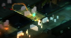 Red dashes around obstacles before firing a bounce towards a Weed protected Clucker. (Image credit to Supergiant Games, retrieved from their official Transistor page)