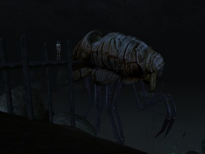 A silt strider stands ready to escort you through the Ashland Wastes and beyond. (Image credit to Bethesda Softworks, retrieved from GOG.com's official Morrowind page)