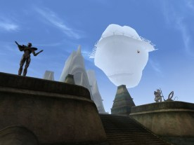 Vivec's statues demonstrate his duality as a meteor looms. (Image credit to Bethesda Softworks, retrieved from GOG.com's official Morrowind page)