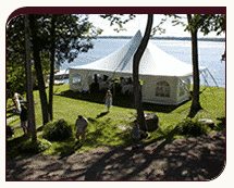 Wedding tent on the water