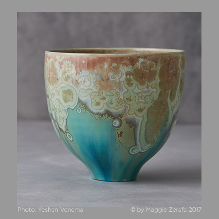 Maggie Zerafa. Footed Bowl. Ceramics. Crystalline glaze.