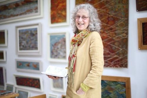 Louise Oppenheimer in her tapestry studio