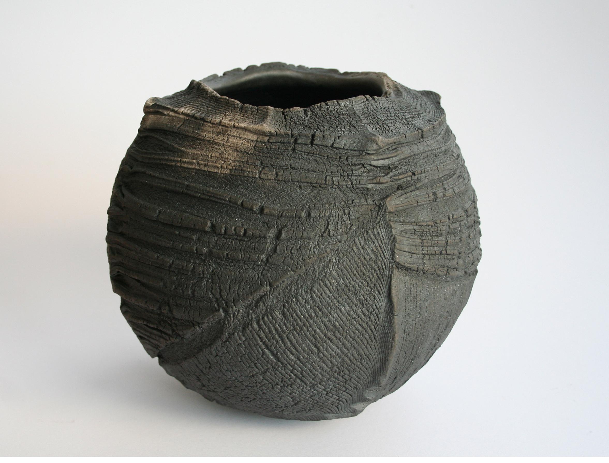 Patricia Shone. Erosion bowl 5 raku ceramic 17x19x19