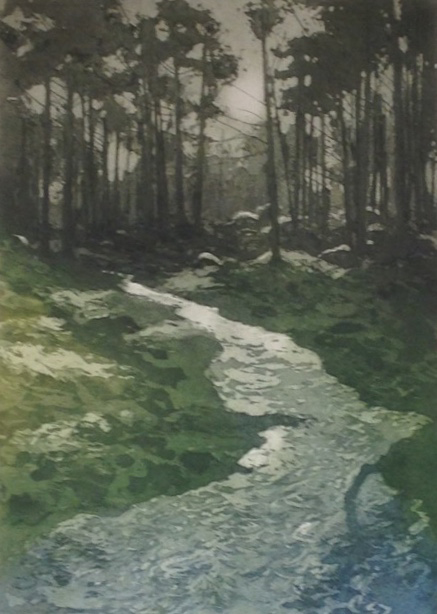 Gregory Moore - Forest Stream (etching)