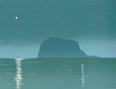 Ian Scott Massie. Bass Rock screenprint 30 x 40cm