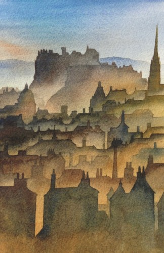 Ian Scott Massie. Edinburgh, Evening 30 x 40cm