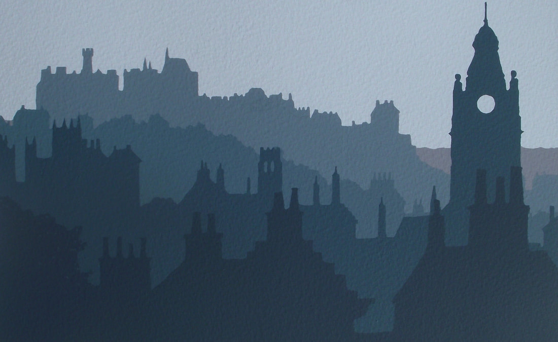 Ian Scott Massie. Edinburgh rooftops 30 x 40cm