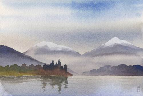 Ian Scott Massie. Kilchurn Castle 30 x 40cm
