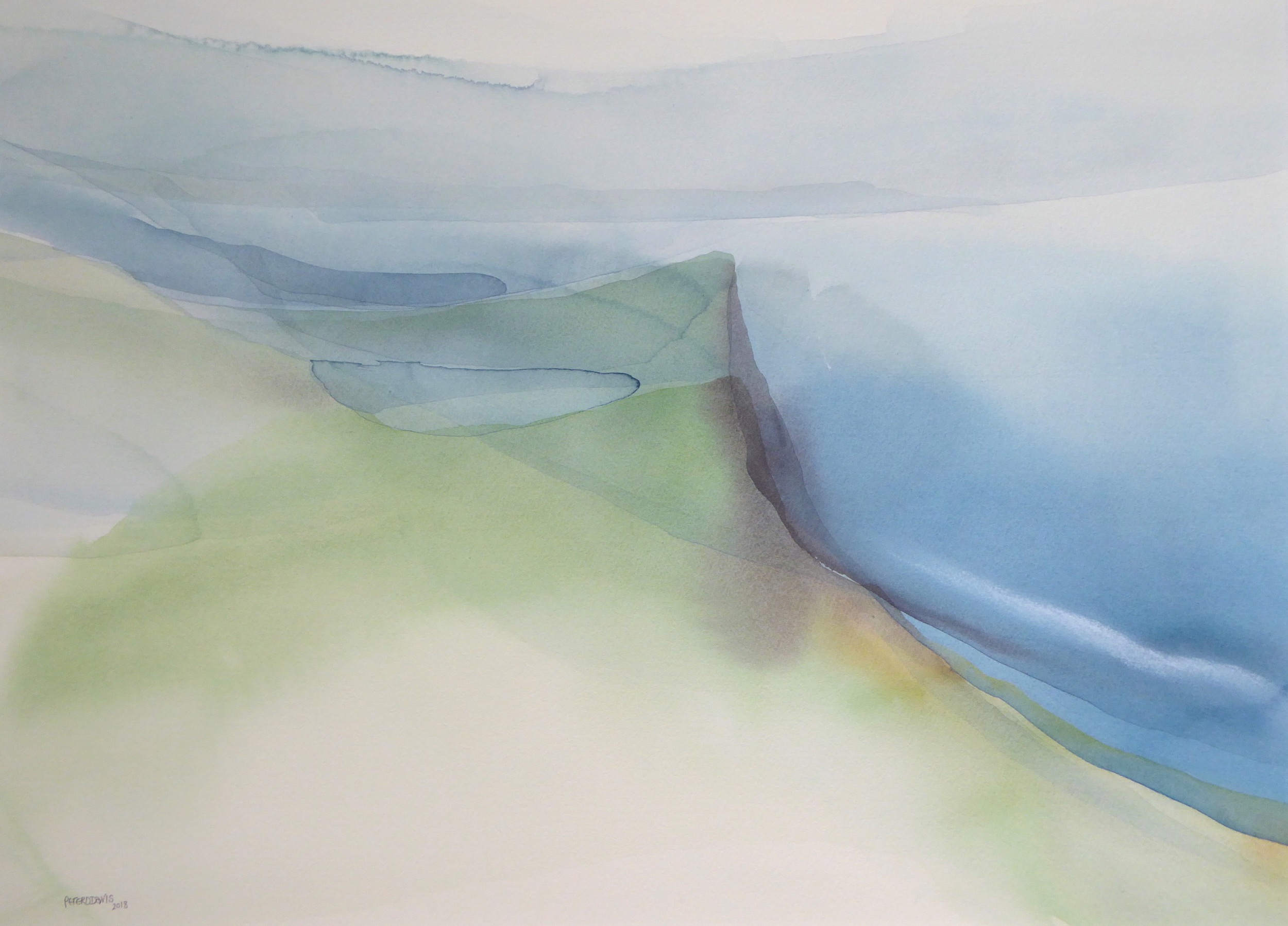 Peter Davis. The Nev, Watercolour and rubbing of chalk on paper 2018, (70x51cm)